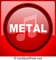 metal music red icon plastic glossy button