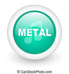 metal music round glossy web icon on white background