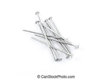 Metal nails on white