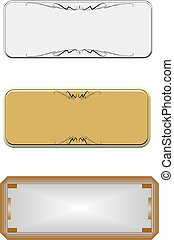 metal name plates on white