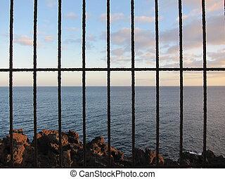 Net over the atlantic ocean at sunset