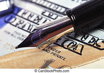 nib pen and dollar