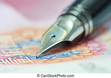 Metal Nib Pen on china money bill