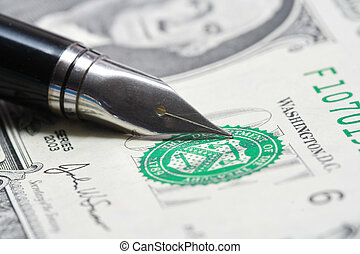 Metal Nib Pen on dollar bill