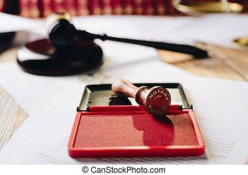 Metal notary public ink stamper