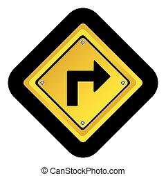 metal notice with arrow sign icon