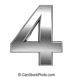 Metal number - 3d steel number - isolated on white ...