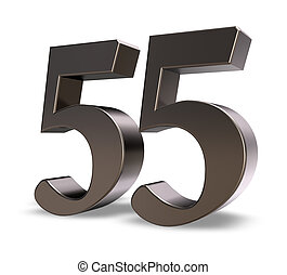 number fifty five - metal number fifty five on white ...