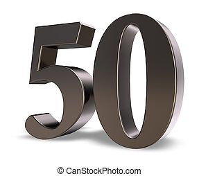 number fifty - metal number fifty on white background - 3d...