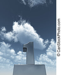 number one - metal number one under cloudy blue sky - 3d...