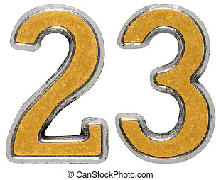 Metal numeral 23, twenty-three, isolated on white background