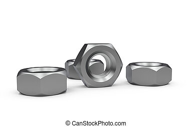 Metal nuts isolated on a white background