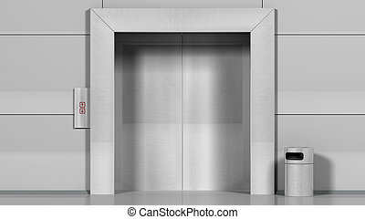 Metal office building elevator.