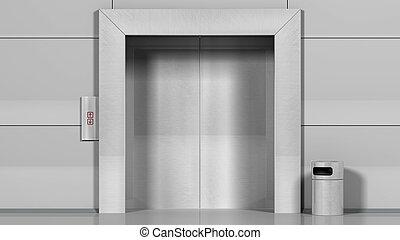Metal office building elevator.