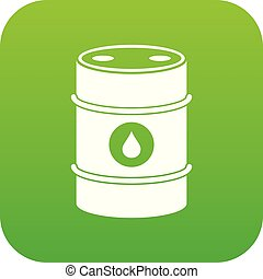 Metal oil barrel icon digital green for any design isolated ...