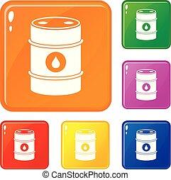 Metal oil barrel icons set vector color