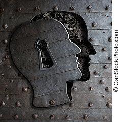 metal, ojo de la cerradura, engranajes, cerebro, puerta, hecho, humano, concepto