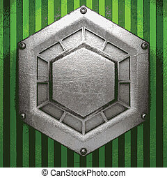 metal on green background