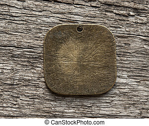 Metal on wood background