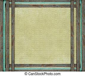 metal oxidado, barras, y azul, en, viejo, lona