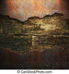 metal oxidado, madera, placa