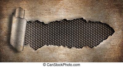 metal oxidado, rasgado, plano de fondo, agujero