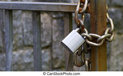 Metal padlock and chain