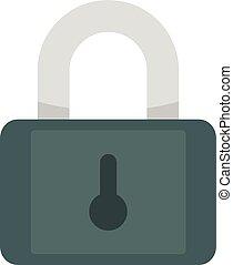 Metal padlock icon, flat style