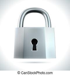 Metal padlock isolated on white background vector illustration.