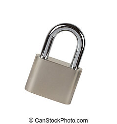 Metal padlock on white background