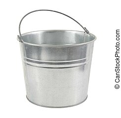 metal pail on a white background