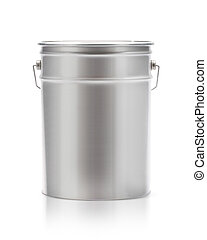 Metal painting Pail isolated on white, (clipping work path ...