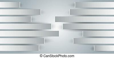 metal-paneled, wände, in, ansicht, von, der