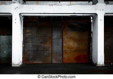 metal partition  - rusted partition in white wall frame