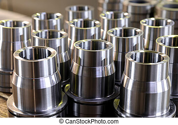 metal parts - metal cylindrical parts after cutting on ...