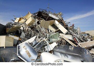 metal, pedaço, recicle, ecológico, fábrica, meio ambiente