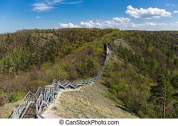 pedestrian bridge in the mountains