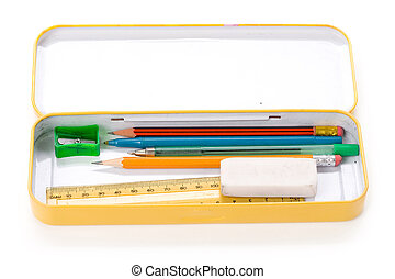 metal pencil case - Metal pencil case with white background