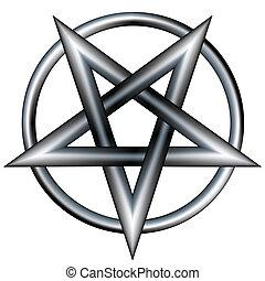 Metal pentagram vector - Pentagram inside a circle. Vector...