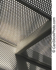 Graphic image of perforated metal floor with shadows.