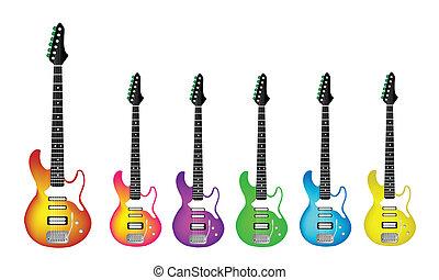 metal pesado, encantador, guitarra, elétrico