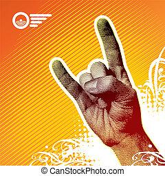 metal pesado, señal de mano, -, vector, ilustración