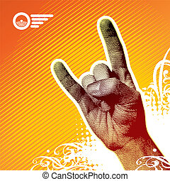 metal pesado, sinal mão, -, vetorial, ilustração