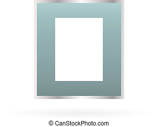 Metal photo frame with shadow on a white background