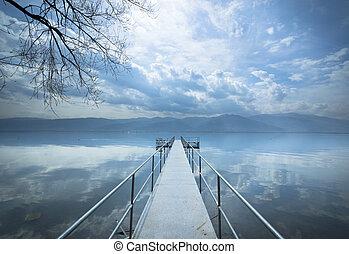 Metal pier on the lake