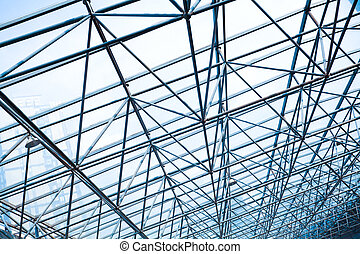 Metal pillar structure of modern office architecture glass roof windows