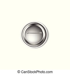 Metal pin button back view 3d realistic vector illustration mockup isolated.