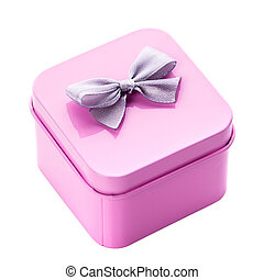 Metal pink gift box with gray bow on a white background.