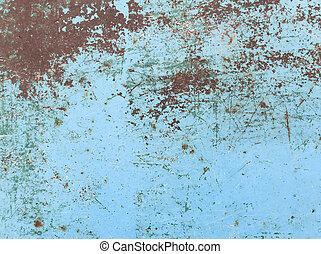 metal, pintado, pintura azul