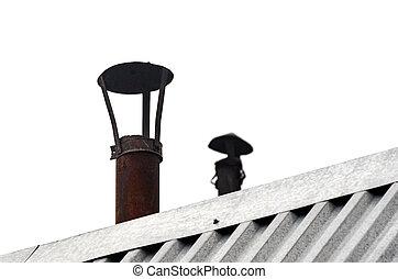 Metal Pipe Chimneys with Caps, Steel Roof Ridge Details.